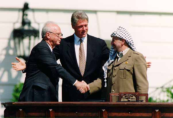 Rabin, Clinton, Arafat at signing ceremony of the Oslo peace accord